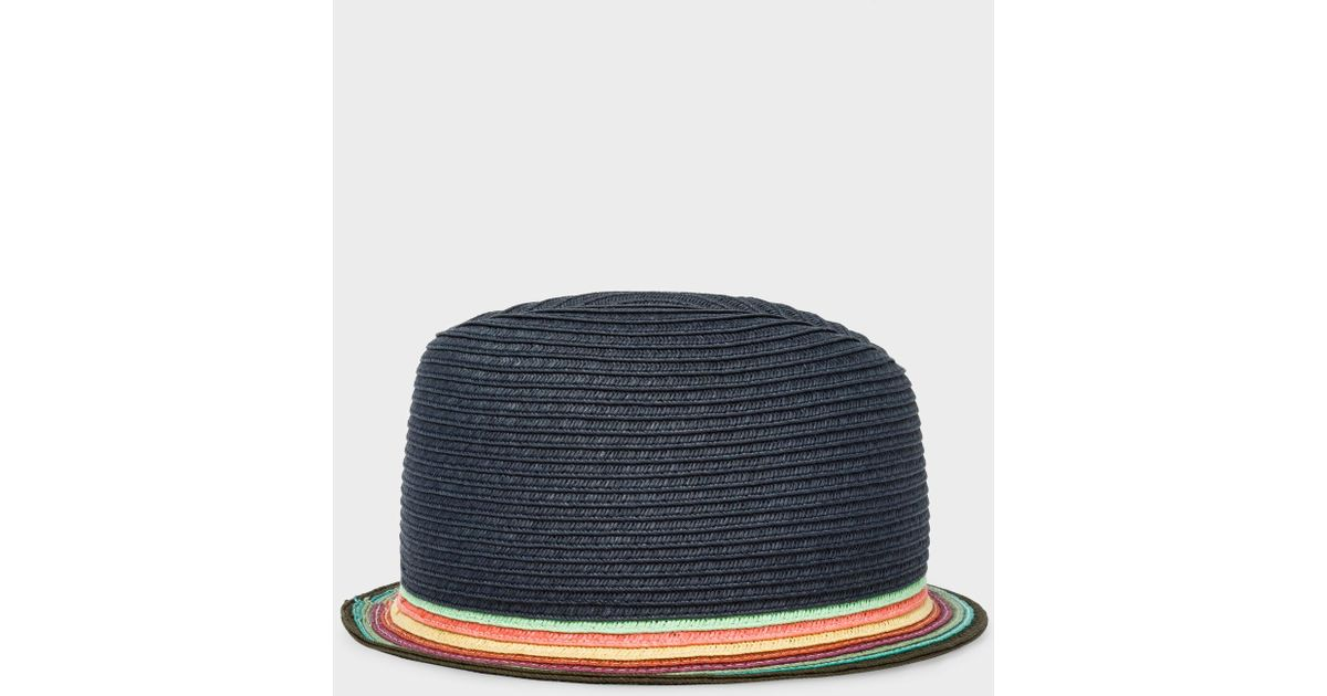 492ed3d99 Paul Smith Slate Blue Trilby Hat With 'Artist Stripe' Brim for men