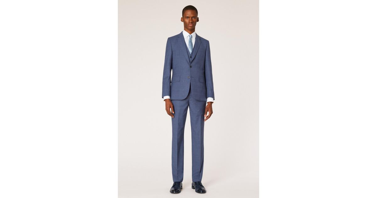 e9d7ba0ed Lyst - Paul Smith The Soho - Tailored-fit Slate Blue Check Three-piece Suit  in Blue for Men