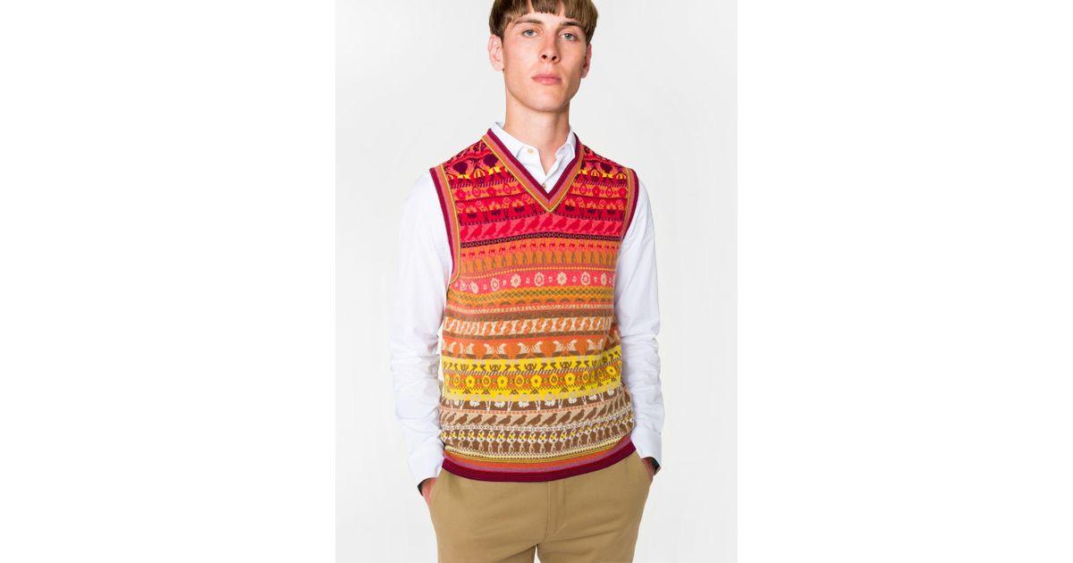 Lyst - Paul smith Men's Multi-coloured Fair Isle V-neck Wool-blend ...