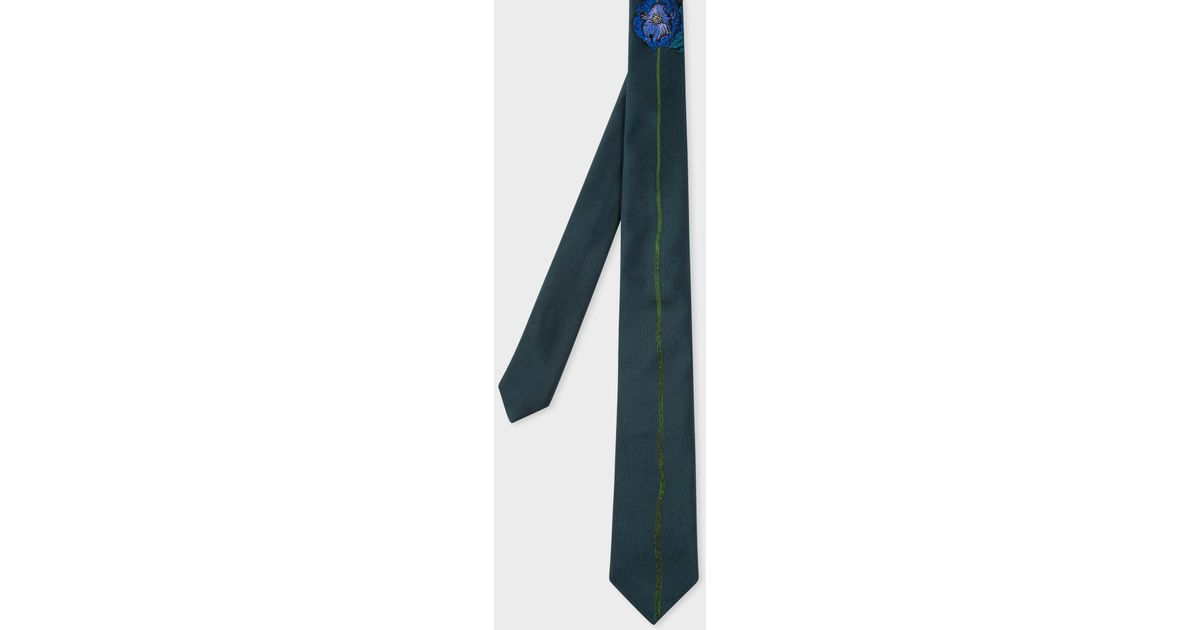 Paul Smith Dark Green Floral Embroidery Narrow Silk Tie