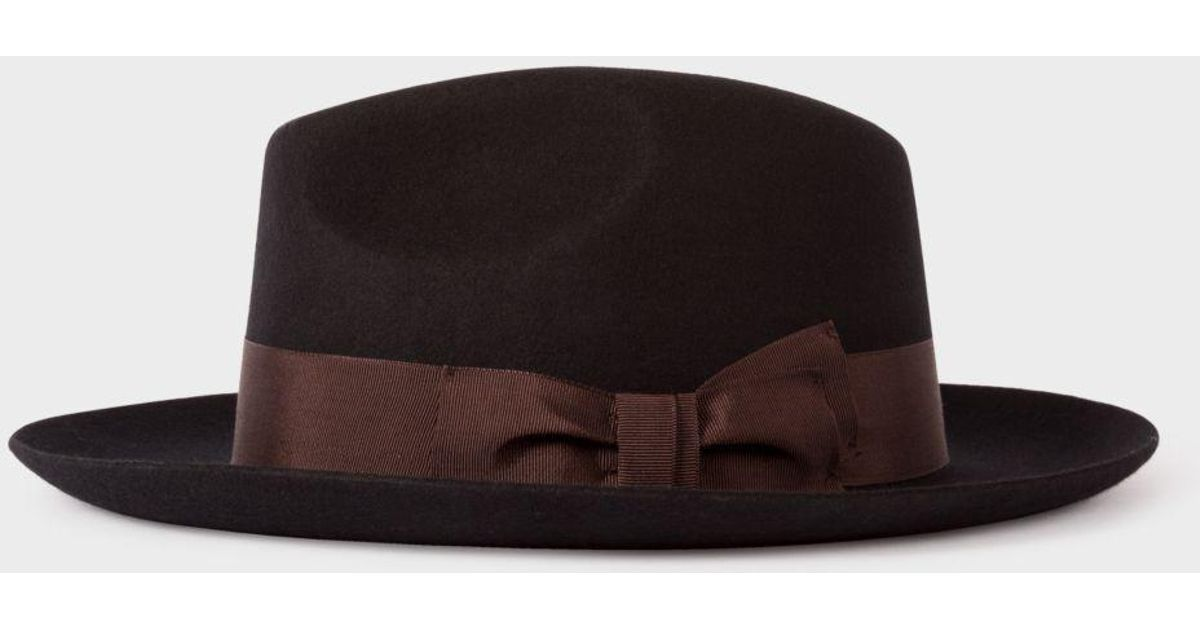 ec887427418bf3 Paul Smith Men's Black 'mayfair' Wool Fedora Hat in Black for Men - Lyst