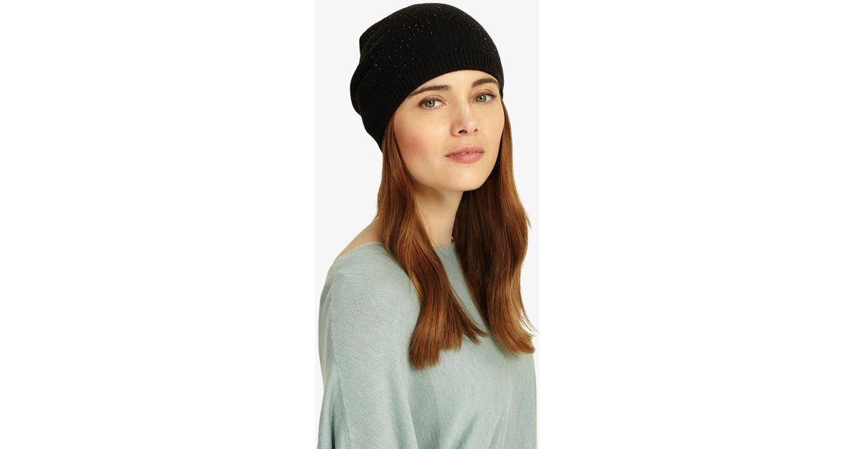 01abd5c54fb62 Phase Eight Embellished Beanie in Black - Lyst