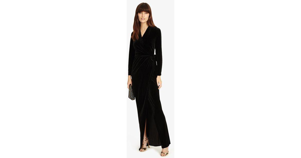 012bdcf909 Lyst - Phase Eight Valeria Velvet Wrap Dress in Black - Save 32%