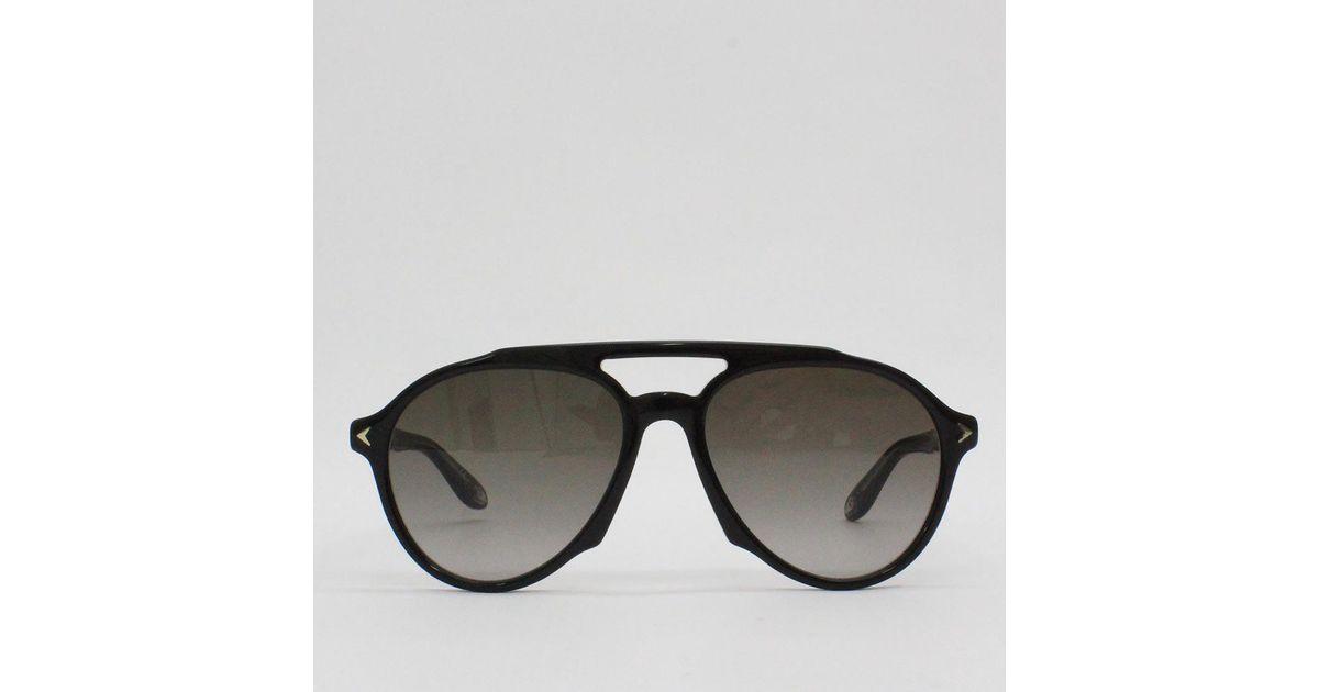 95d91665fb634 Lyst - Givenchy 56ha Black Frame Aviator Sunglasses Black in Black