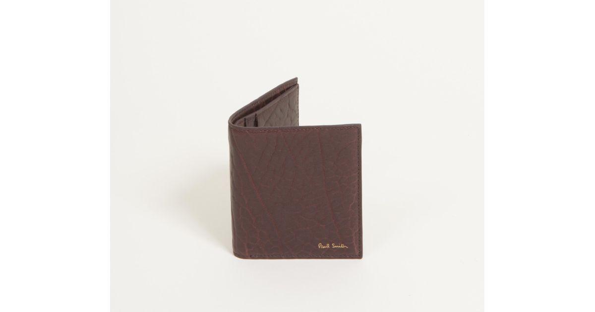 caabb58c7f81 Lyst - Paul Smith Heavy Grained Billfold Leather Wallet Damson in Brown for  Men