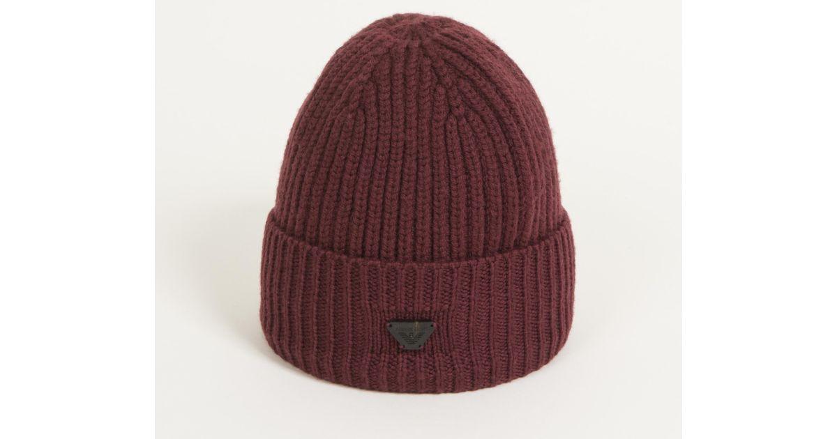 422ba784dced4c Armani Jeans Ribbed Tab Logo Beanie Hat Bordeaux in Purple for Men - Lyst