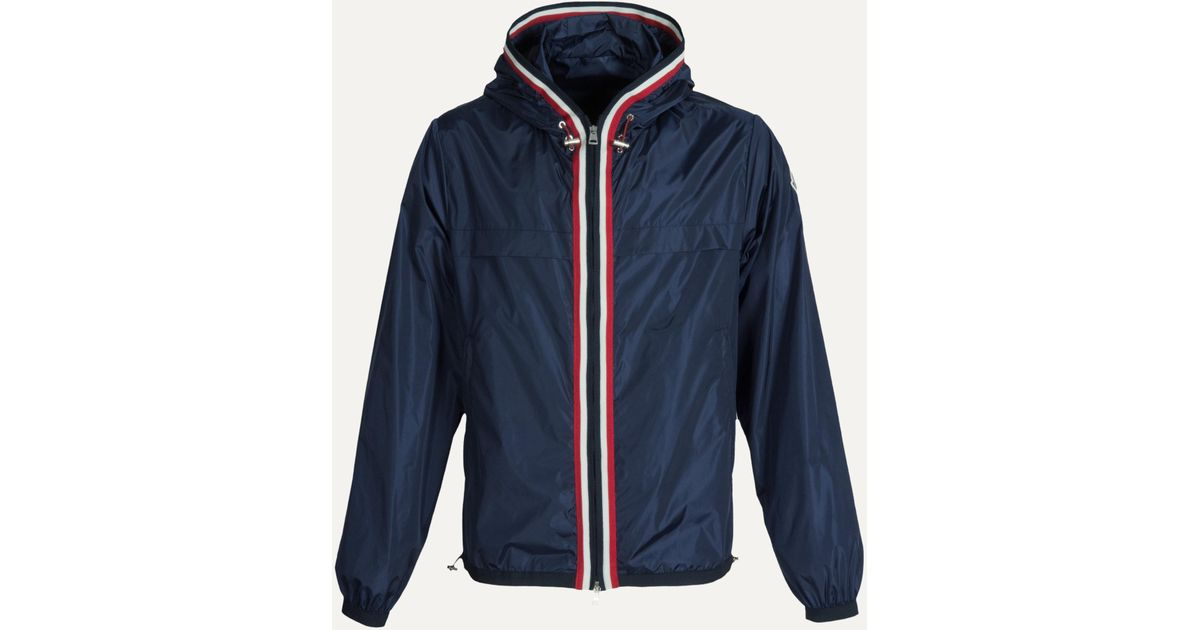 Lyst - Moncler 'anton' Lightweight Hooded Jacket With Stripe Trim Navy in Blue for Men