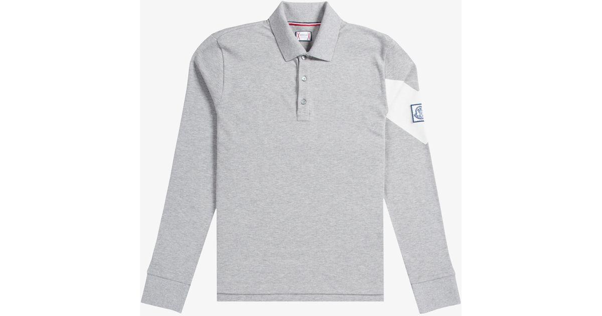 c41e39a48a93 Moncler Gamme Bleu Long Sleeved Pique Polo With Arm Detail Grey in ...