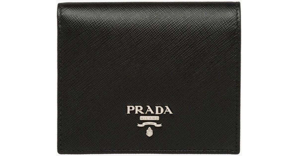 c0f489b15dee Prada Small Saffiano Leather Wallet in Black - Lyst