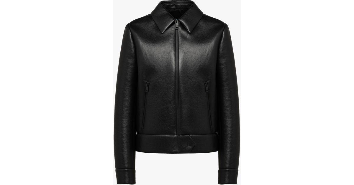 44eb3449 Prada Black Nappa Leather Jacket With Collar