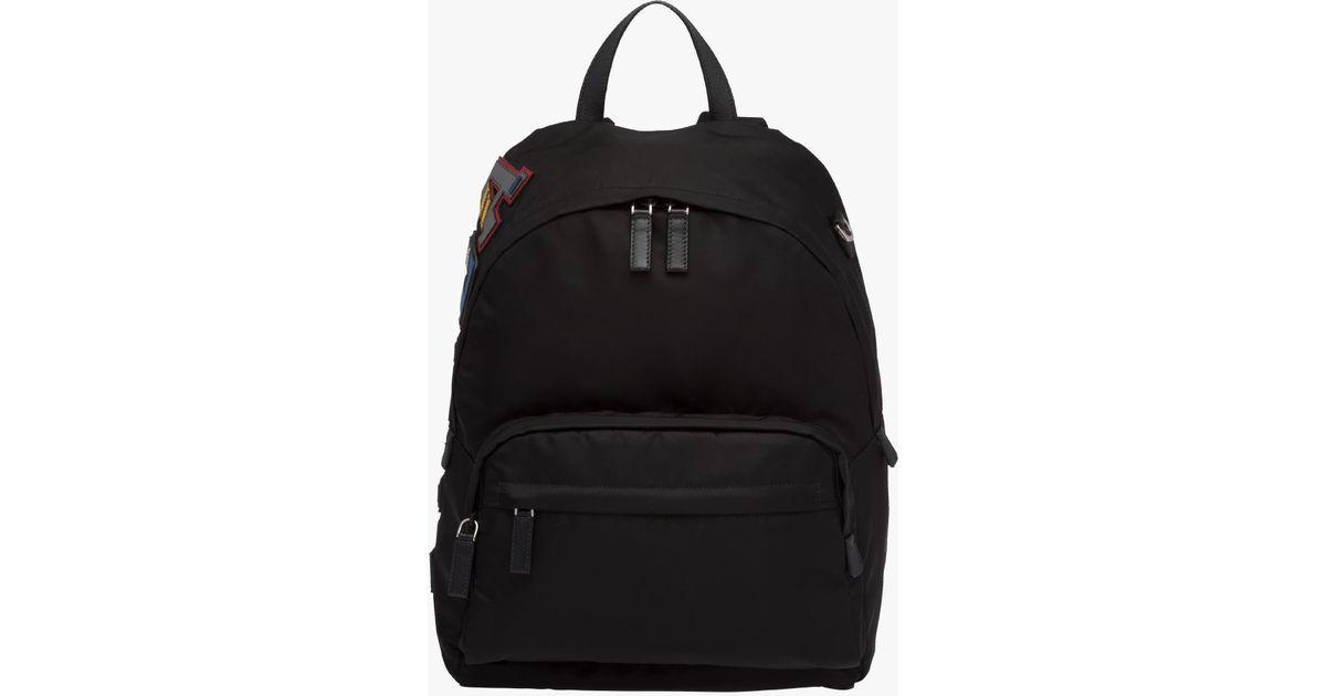 ce1fcf0fa166f8 Prada Nylon And Saffiano Leather Backpack in Black for Men - Lyst