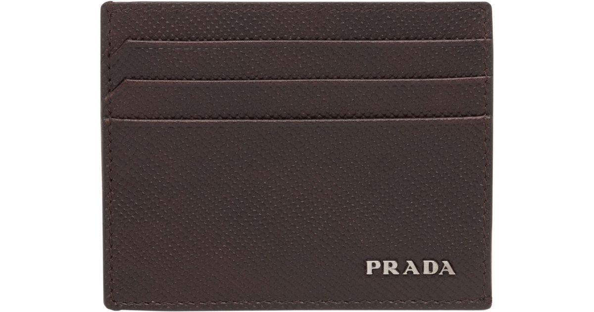 241b8a26b569b4 ... new arrivals lyst prada saffiano leather credit card holder for men  38cdf a96bc