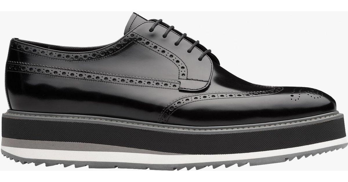 Prada Leather Platform Derby Shoes in