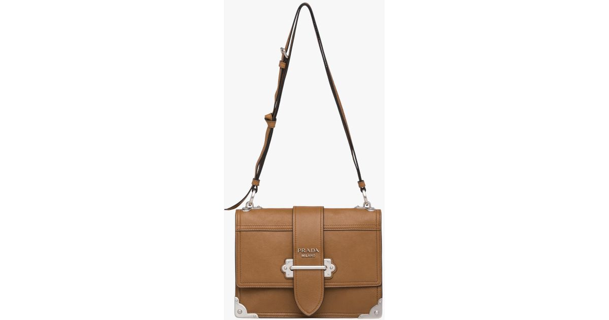 a838fe4bc63d uk lyst prada cahier leather shoulder bag in brown a84bf 8464d