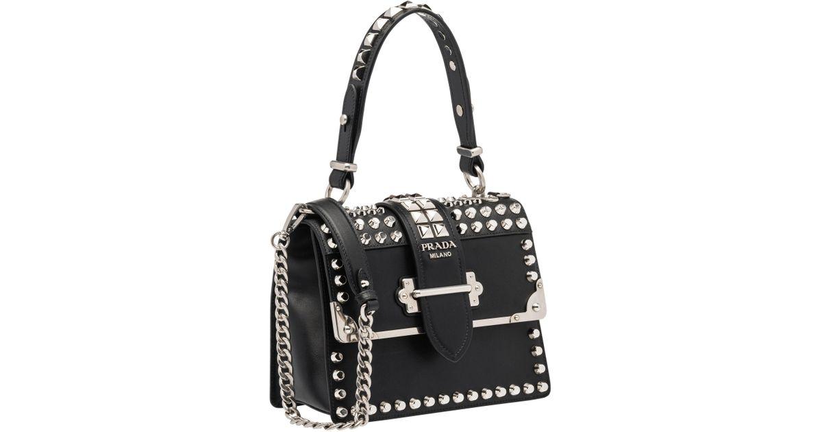 93dd31ca9d Lyst - Prada Cahier Studded Bag in Black - Save 8.942857142857136%
