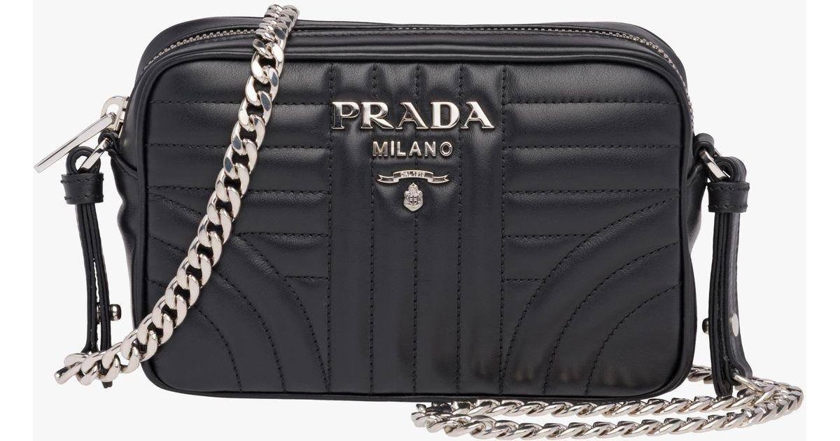 6885fe629b8c Prada Diagramme Leather Cross-body Bag in Black - Lyst