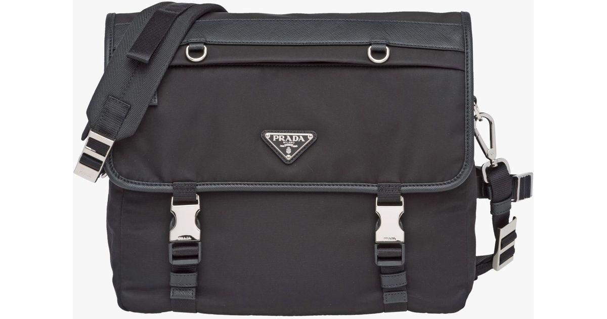 9a629ba15972 ... buy lyst prada nylon flap shoulder bag in black for men 47899 cbddf