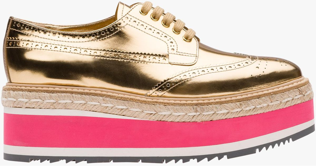 55a21e38e70c Lyst - Prada Metallic Leather Platform Derby Shoes