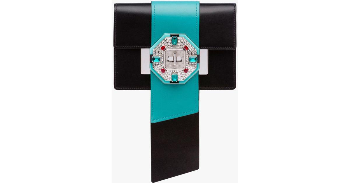 c535c414b851f5 Prada Jewels Ribbon Leather Bag in Black - Lyst