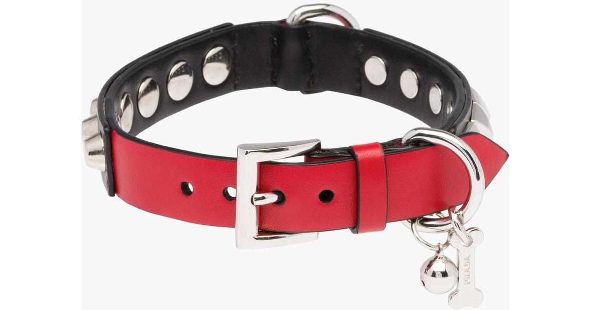 0dec8fa952a1d Prada Red Two-tone Studded Leather Dog Collar
