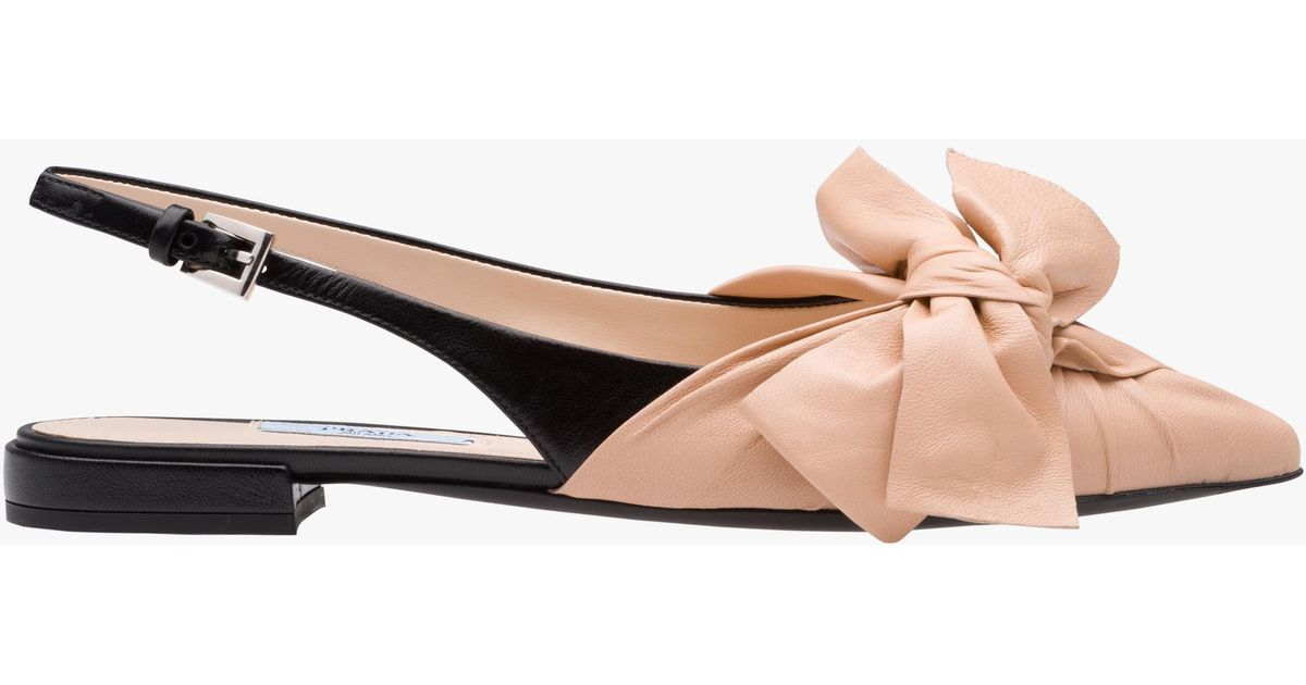 Slingback Pink Ballerinas Pink Leather Slingback Prada Prada Leather 2WIDH9EY
