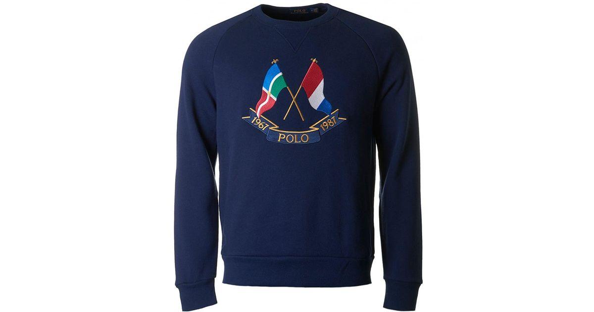 Crew Polo Flags In Blue Lauren Cross Ralph Lyst Neck Sweat Men For EHD29WYI