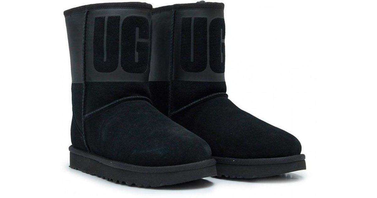 9a6888ea350 Ugg Black Classic Short Rubber Logo Boots