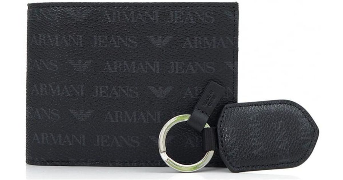 41d65639fbe Armani Jeans Logo Wallet And Keyring Gift Set in Black for Men - Lyst
