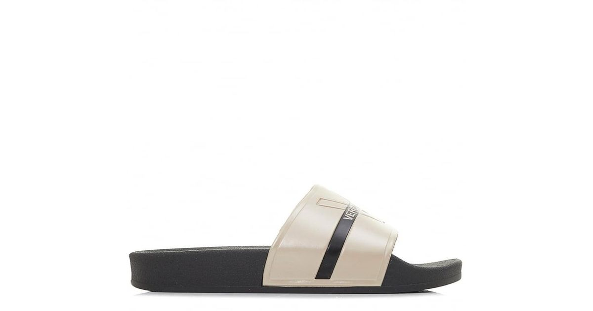 wholesale many styles special section Versace Jeans Denim Sliders in Black for Men - Lyst