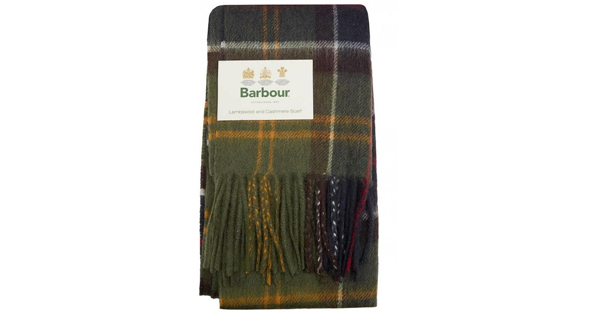 ffc75432c7881 Barbour Merino Cashmere Tartan Scarf in Green for Men - Lyst