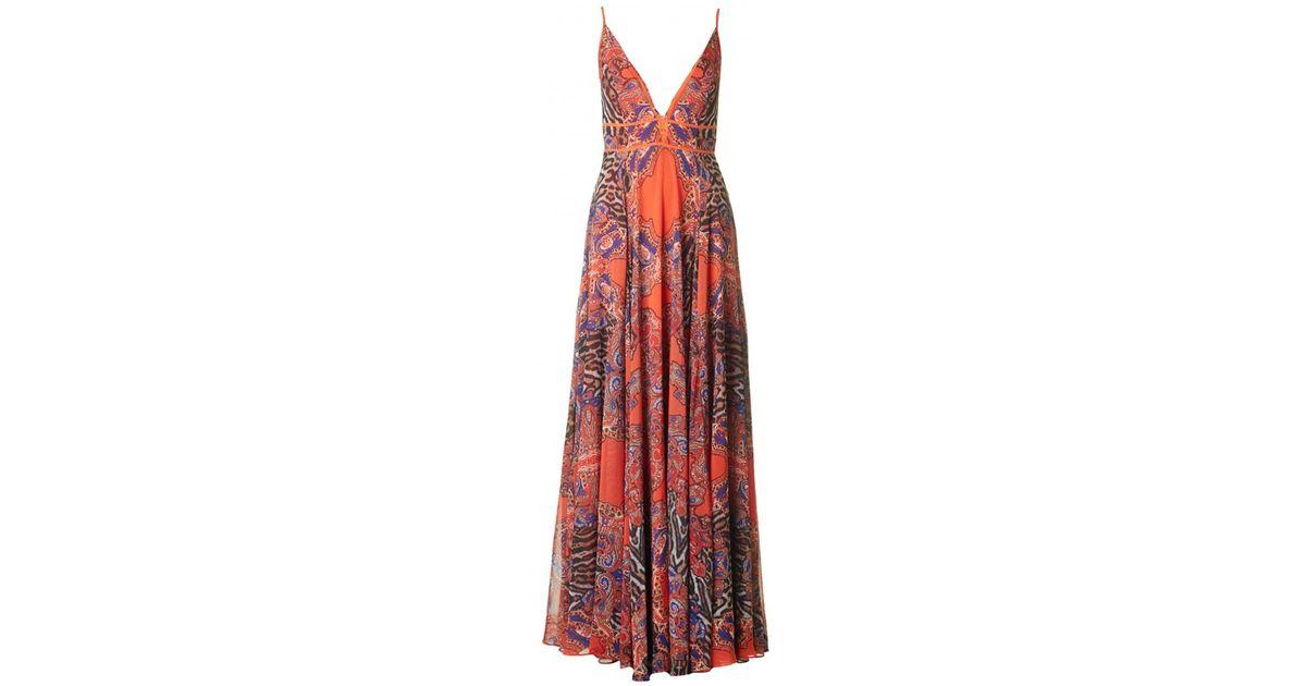 7cf27fa70b Forever Unique Print Maxi Dress in Orange - Lyst