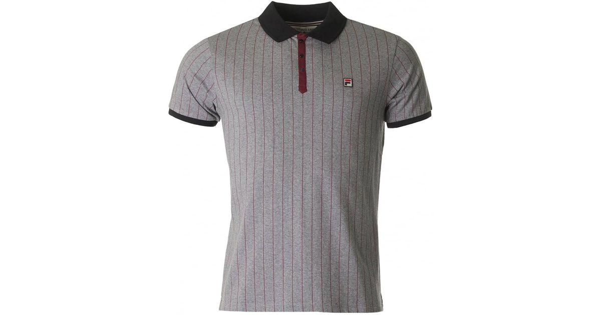2a2f487cba666 Lyst - Fila Vintage Bb1 Classic Striped Short Sleeved Polo in Gray for Men