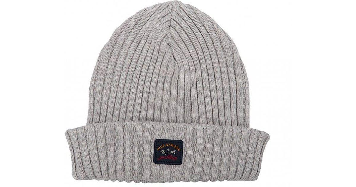f93987da Paul & Shark Logo Beanie Hat in Gray for Men - Lyst