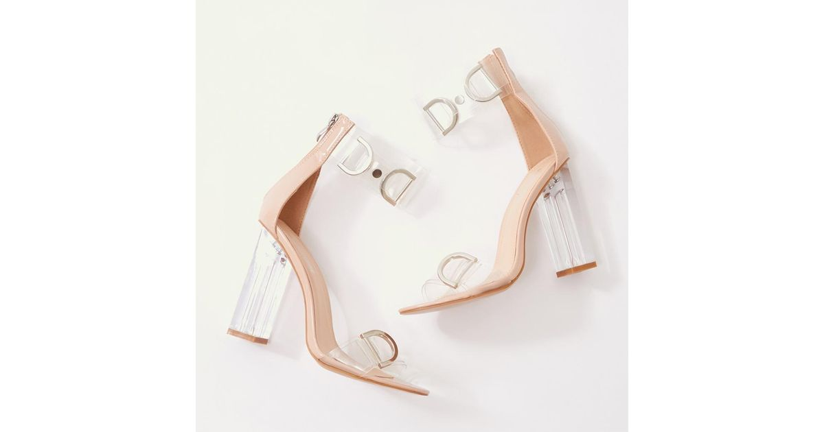 95679e41590 Public Desire Natural Tonic Buckled Perspex Heels In Nude Patent