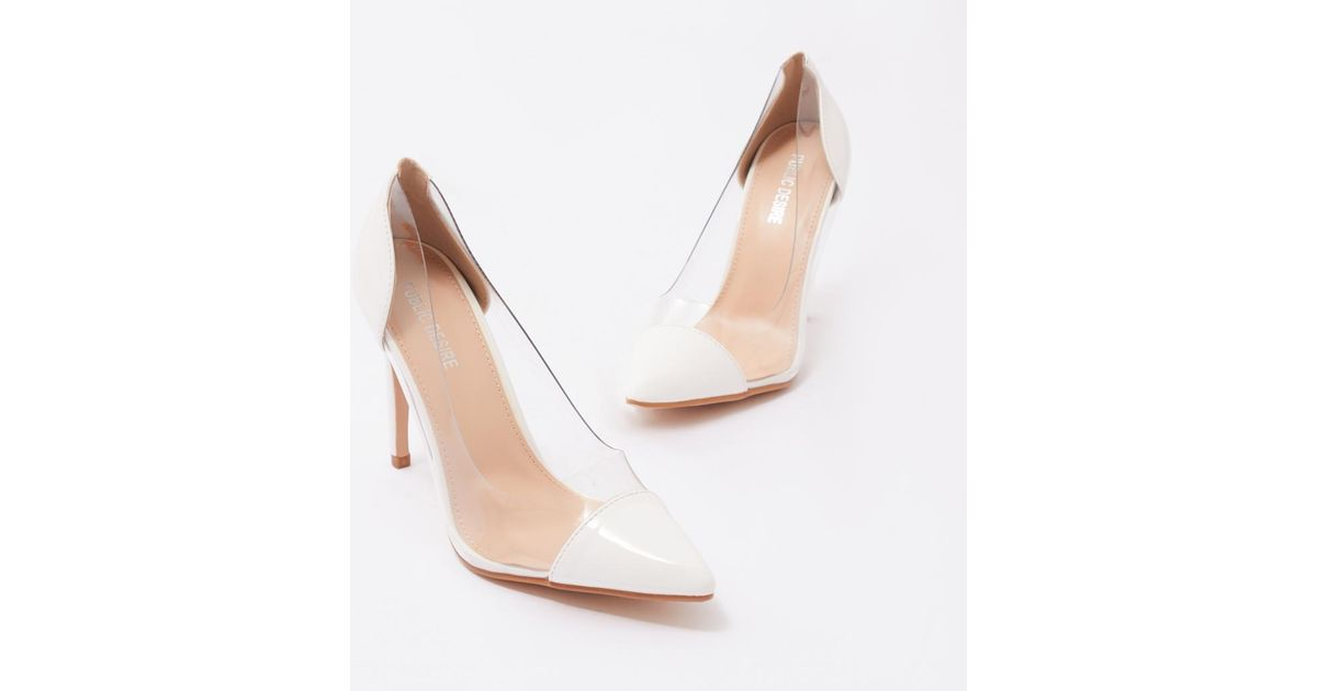 3356f8d2f2b Public Desire Potion Perspex Court Heels In White Patent
