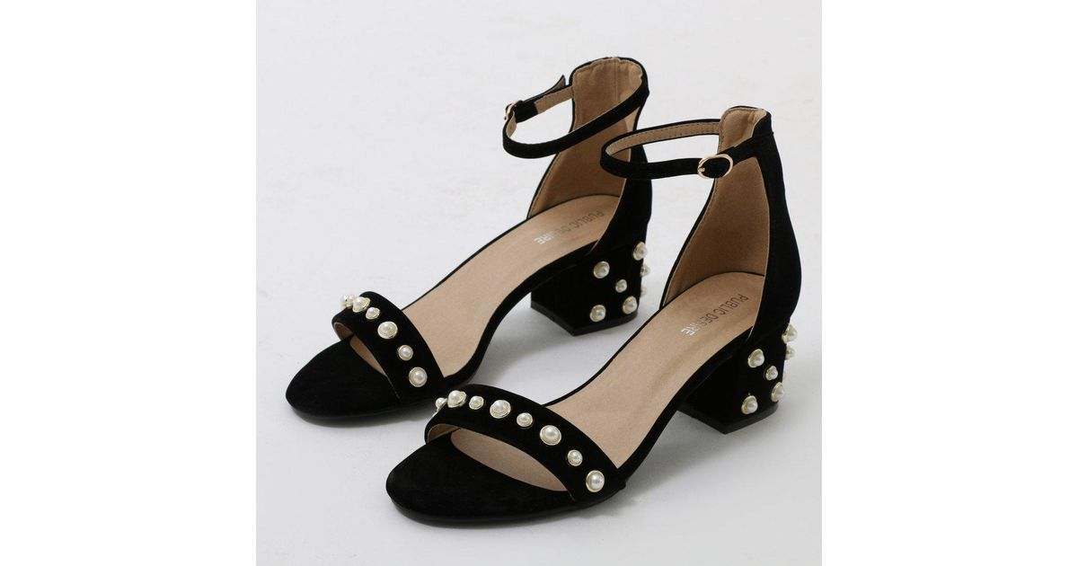e849ff0cc97 Public Desire Bromley Pearl Detail Low Block Heels In Black Faux Suede