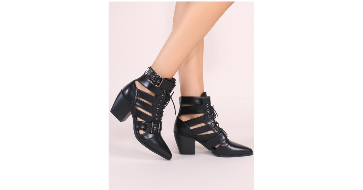 06c1af4a432 Public Desire Zara Lace Up Ankle Boots In Black