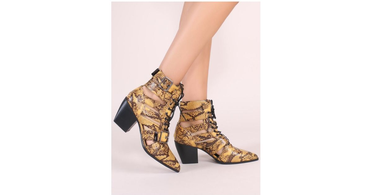a8c435f60e7 Public Desire Zara Lace Up Ankle Boots In Yellow Snake Print
