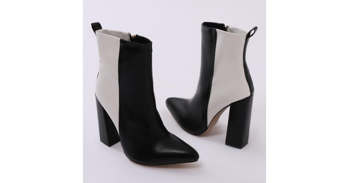 Two-tone Ankle Boots In Black And White