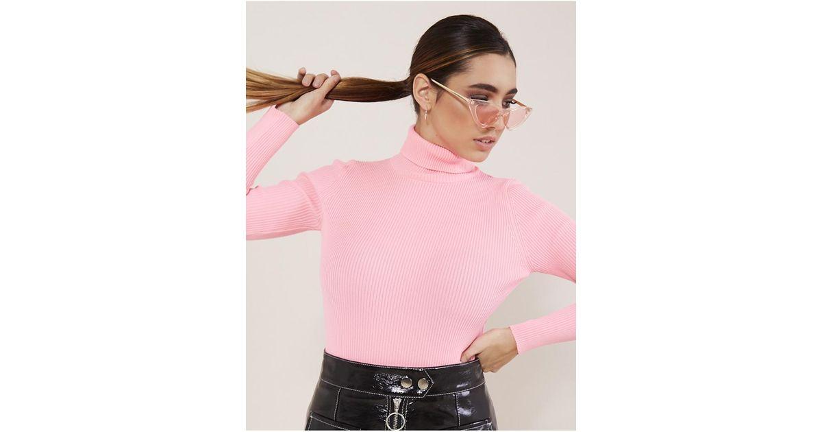 8e895061505 Public Desire Neon Pink Roll Neck Jumper