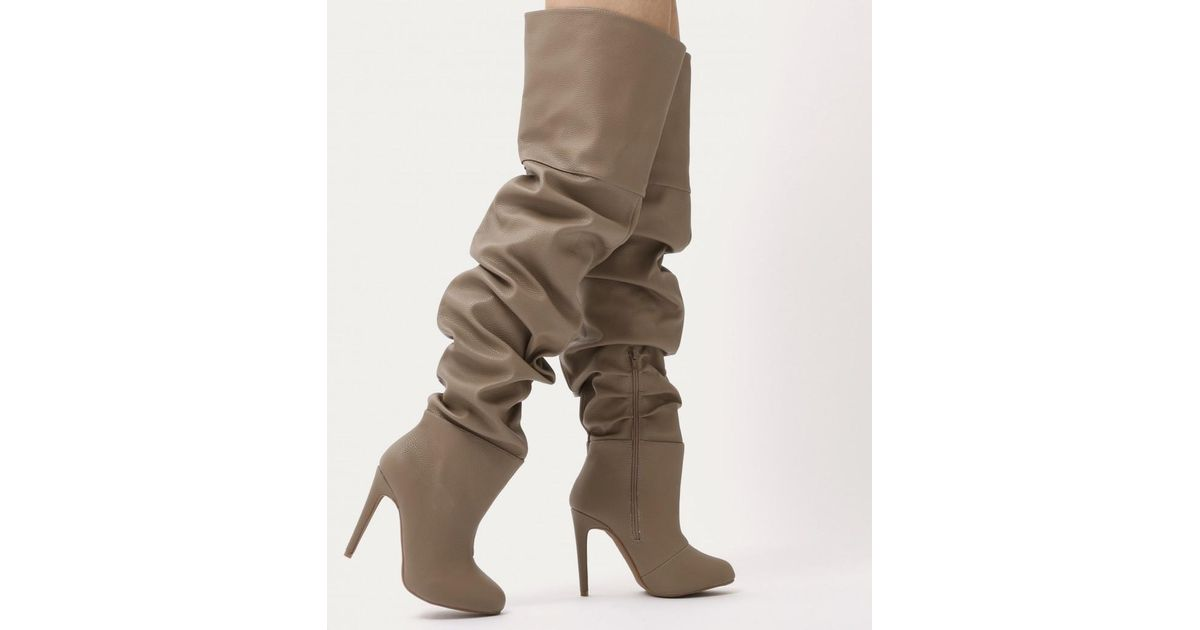 4e020824f62 Lyst - Public Desire Ciara Over The Knee Slouch Boots In Taupe in Brown