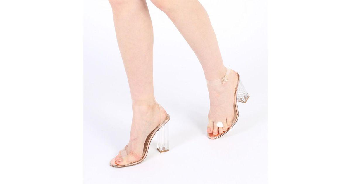 76c1e57880e Public Desire Blue Alia Strappy Perspex High Heels In Clear Rose Gold