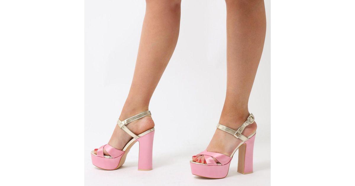 5c0ce60c85d Public Desire Vamp Cross Over Strap Platform High Heels In Pink Satin With  Gold Strap