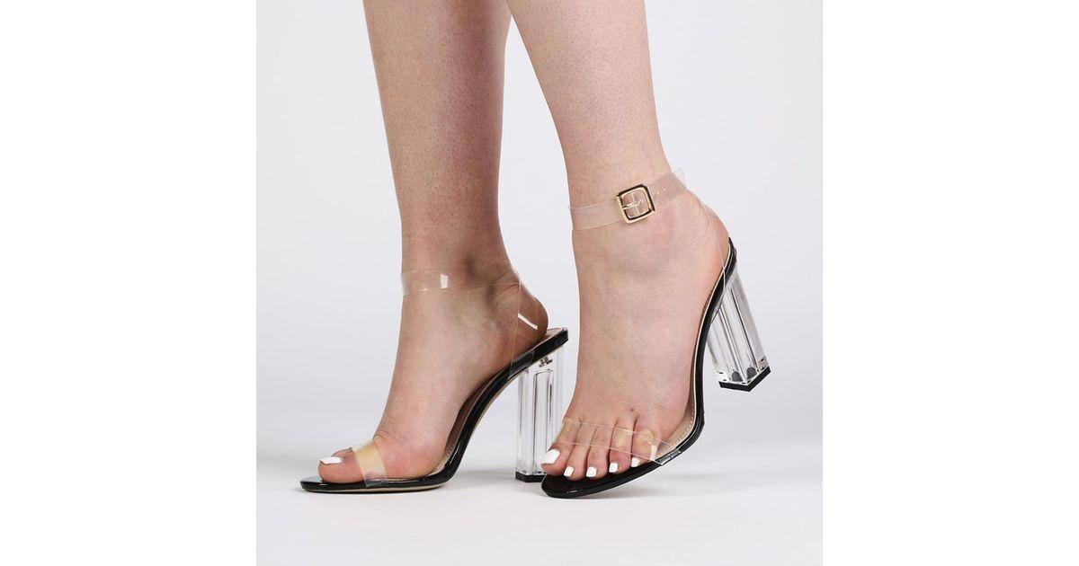 f6288709d00 Public Desire Alia Strappy Perspex High Heels In Clear Black Patent