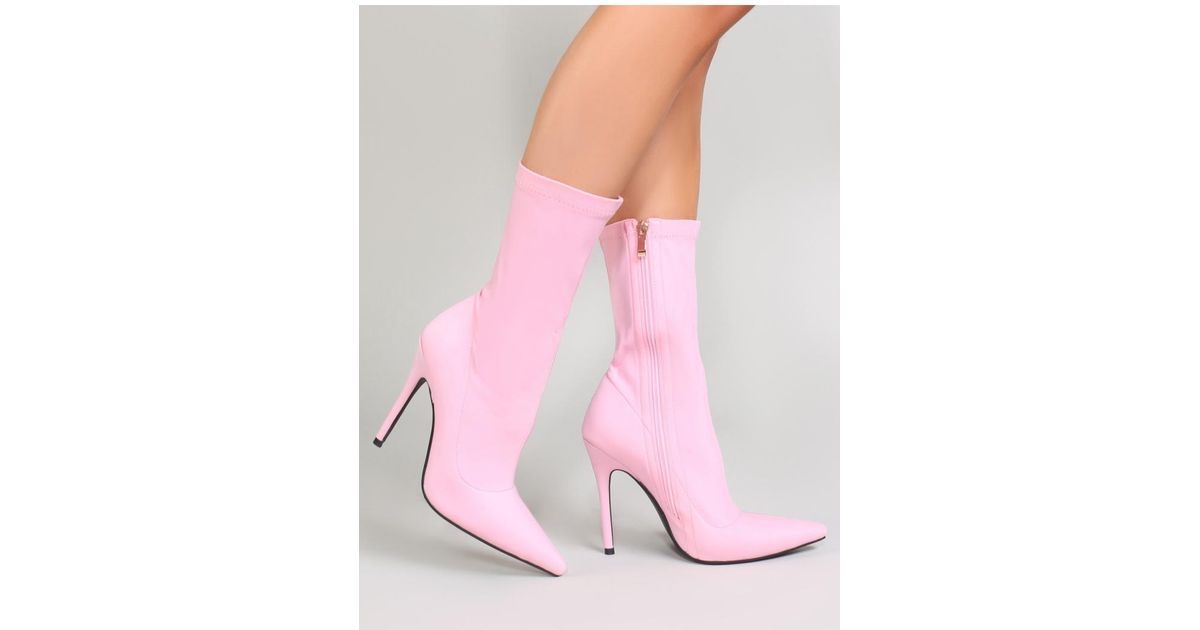 Direct Pointy Sock Boots In Baby Pink