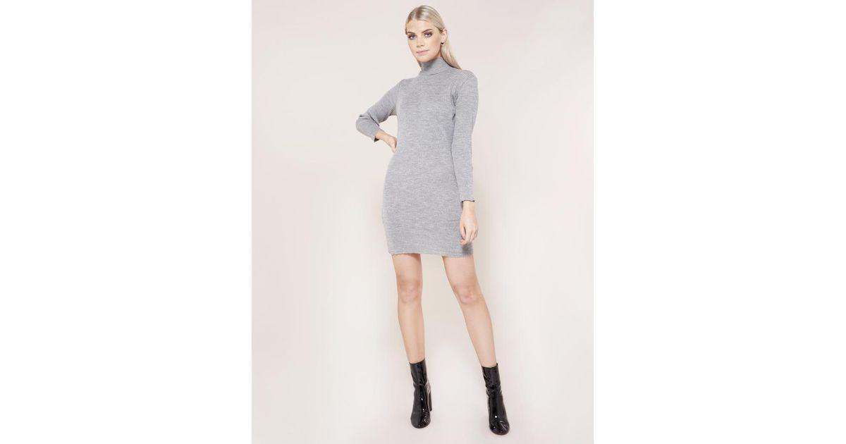 Public Desire Grey High Neck Knitted Mini Dress in Gray - Lyst 16da4e161