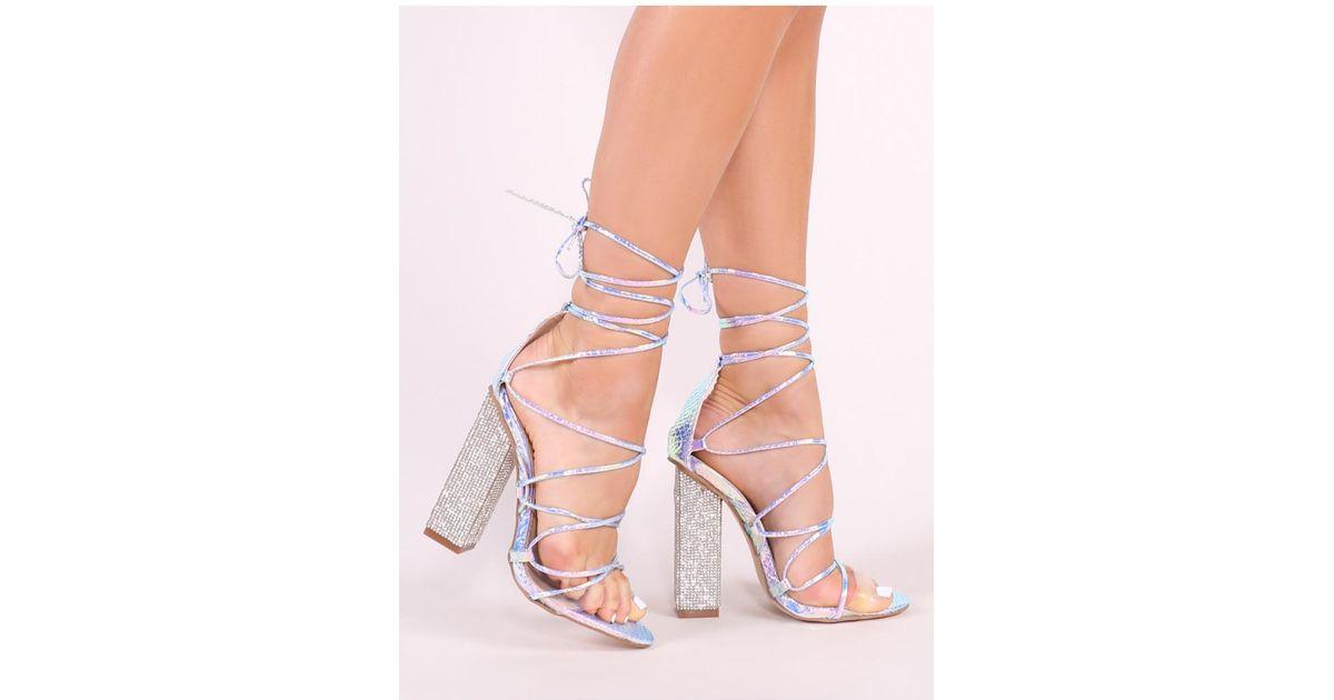 2616d92f5a4 Public Desire Brown Sparkle Diamante Lace Up Heels In Iridescent