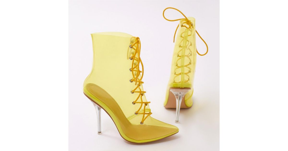 5dd8444feb1 Public Desire Hawt Perspex Lace Up Ankle Boots In Yellow in Yellow - Lyst