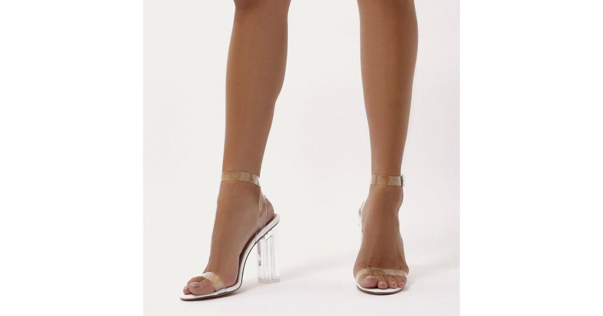 2feab679124 Public Desire Alia Strappy Perspex High Heels In Clear White