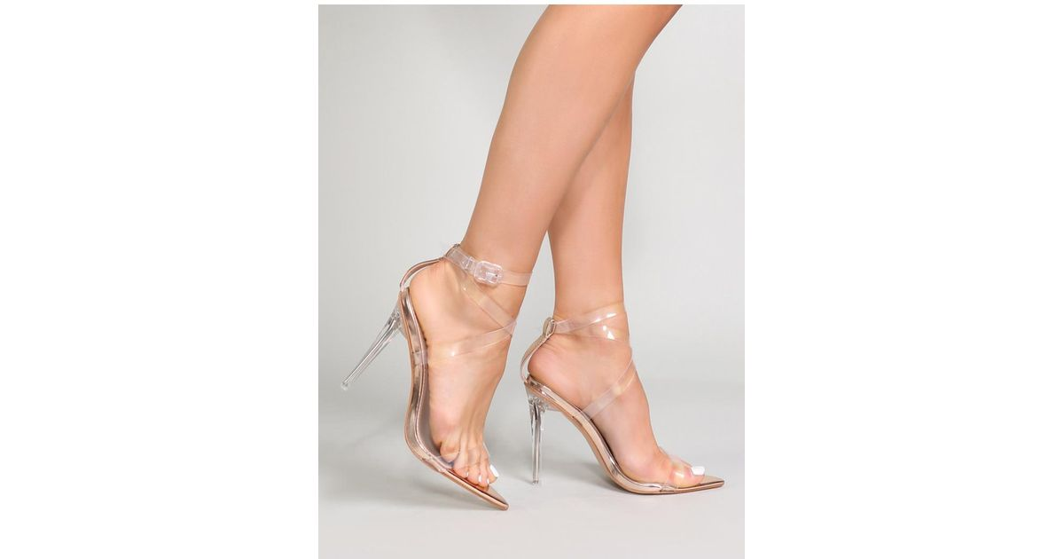 cdabbf0cc8c Public Desire Pink Pow Strappy Perspex Heels In Rose Gold